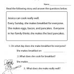 Reading Comprehension Test Worksheet Printable | Reading | Free | 1St Grade Reading Comprehension Worksheets Printable