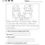 Reading Comprehension Worksheet   Free Kindergarten English | Free Printable Reading Comprehension Worksheets For Kindergarten