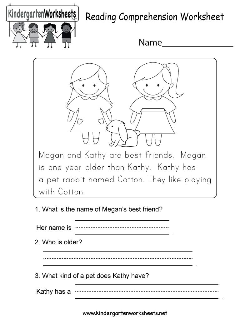 Reading Comprehension Worksheet - Free Kindergarten English | Kindergarten Reading Printable Worksheets