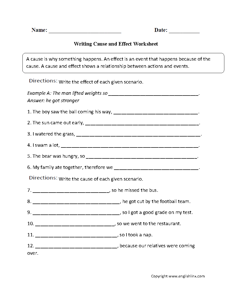 Reading Worksheets | Cause And Effect Worksheets | Free Printable Cause And Effect Worksheets For Third Grade
