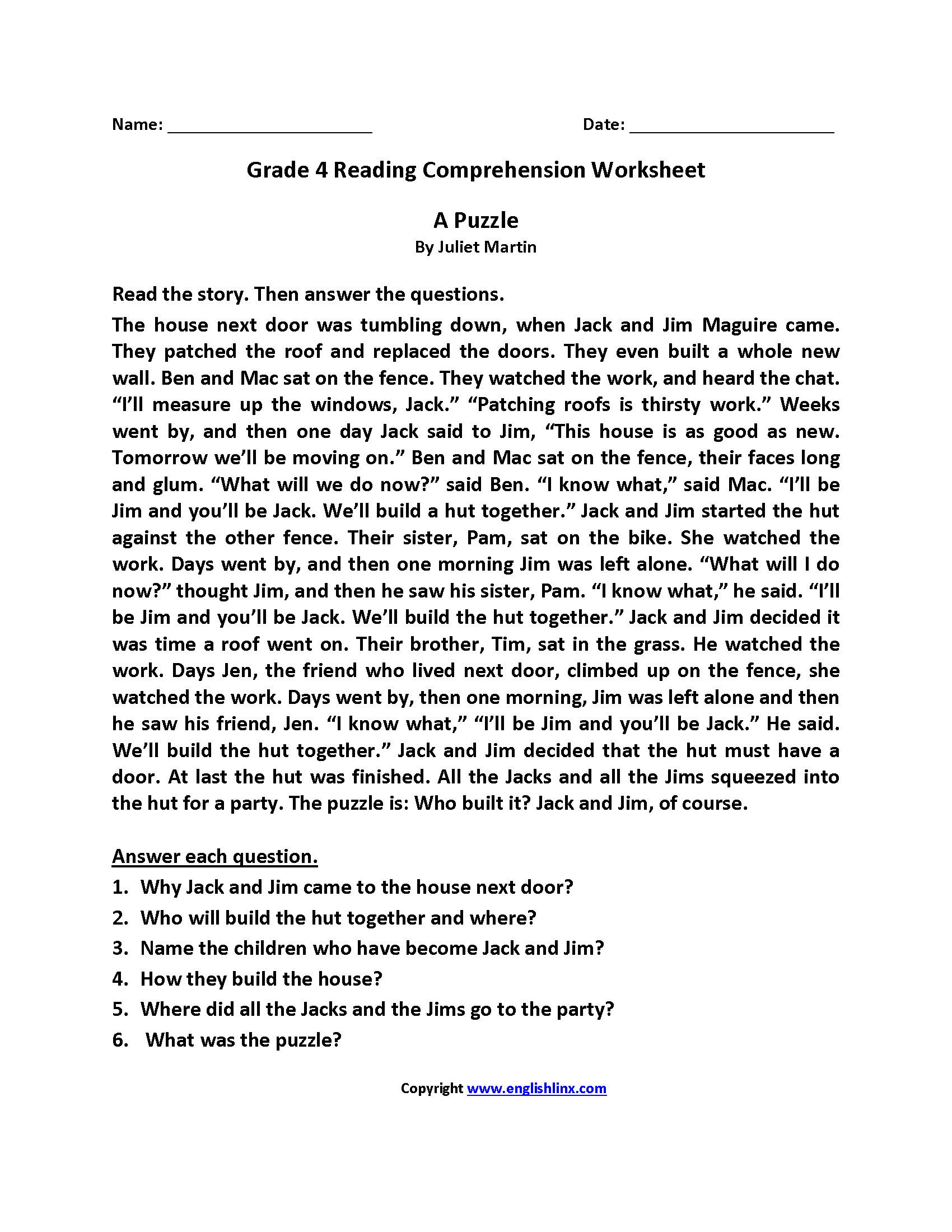 Reading Worksheets | Fourth Grade Reading Worksheets - Free | Free Printable 4Th Grade Reading Worksheets