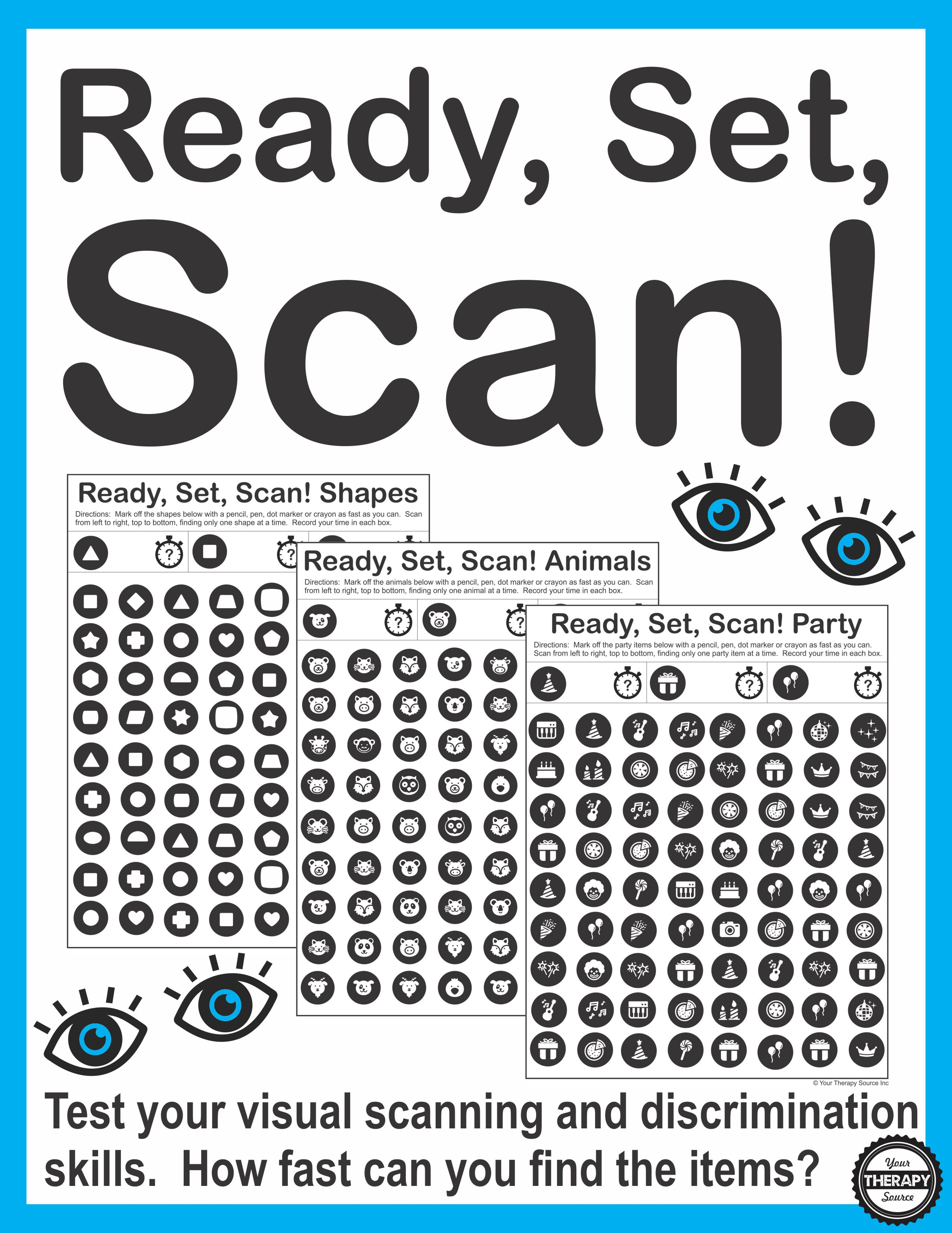 Ready, Set, Scan - Visual Scanning And Discrimination Activity | Printable Visual Scanning Worksheets For Adults
