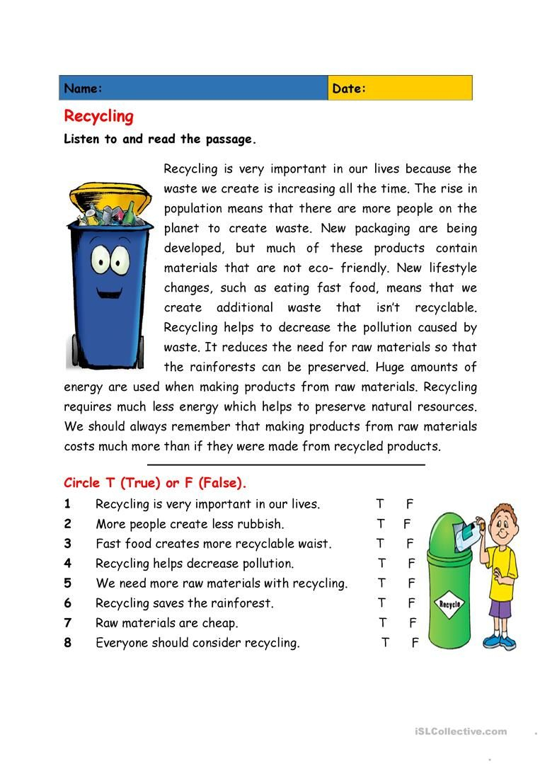 Recycling | Education | English Teaching Materials, English Reading | Recycle Worksheets Printable