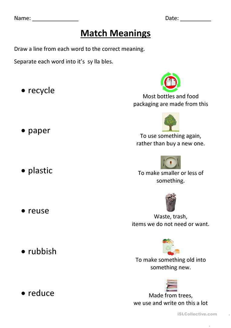 Recycling Match Worksheet - Free Esl Printable Worksheets Made | Recycle Worksheets Printable