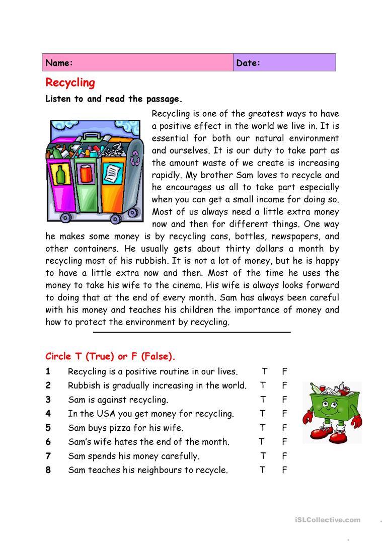 Recycling Worksheet - Free Esl Printable Worksheets Madeteachers | Free Printable Recycling Worksheets