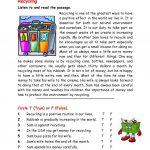 Recycling Worksheet   Free Esl Printable Worksheets Madeteachers | Recycle Worksheets Printable