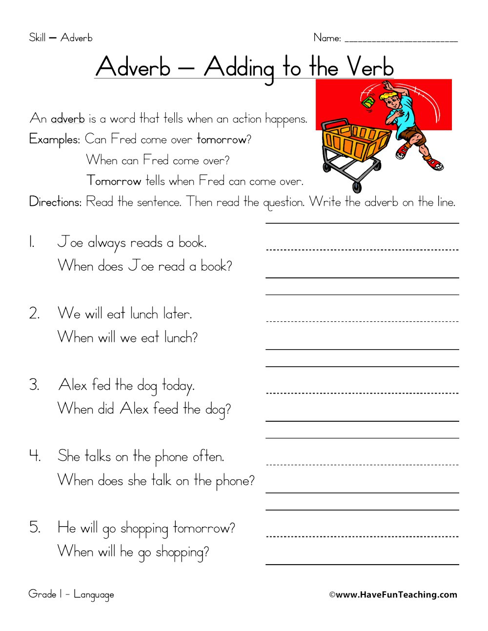 Resources   English   Adverbs   Worksheets   Free Printable Worksheets On Adverbs For Grade 5