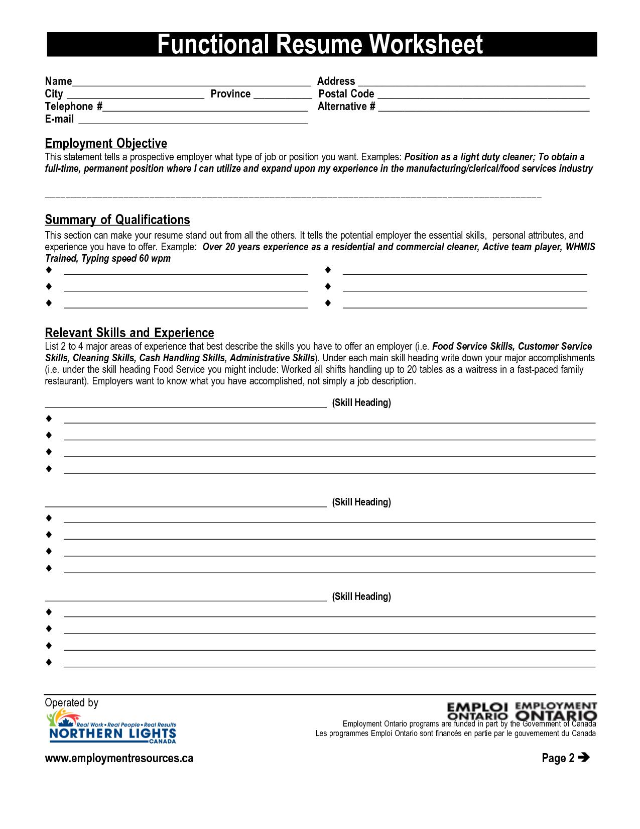 Resume Worksheet Printable And High School Template Building | Printable Resume Builder Worksheet