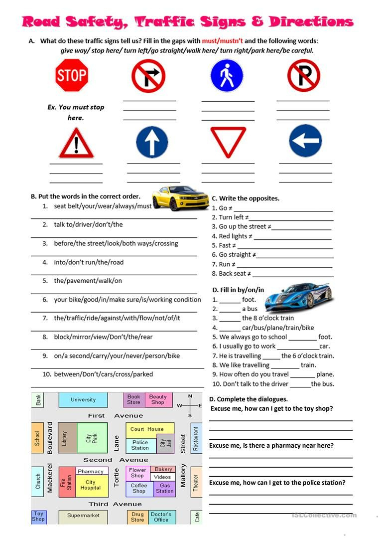 Road Safety, Traffic Signs And Directions Worksheet - Free Esl | Free Printable Traffic Signs Worksheets