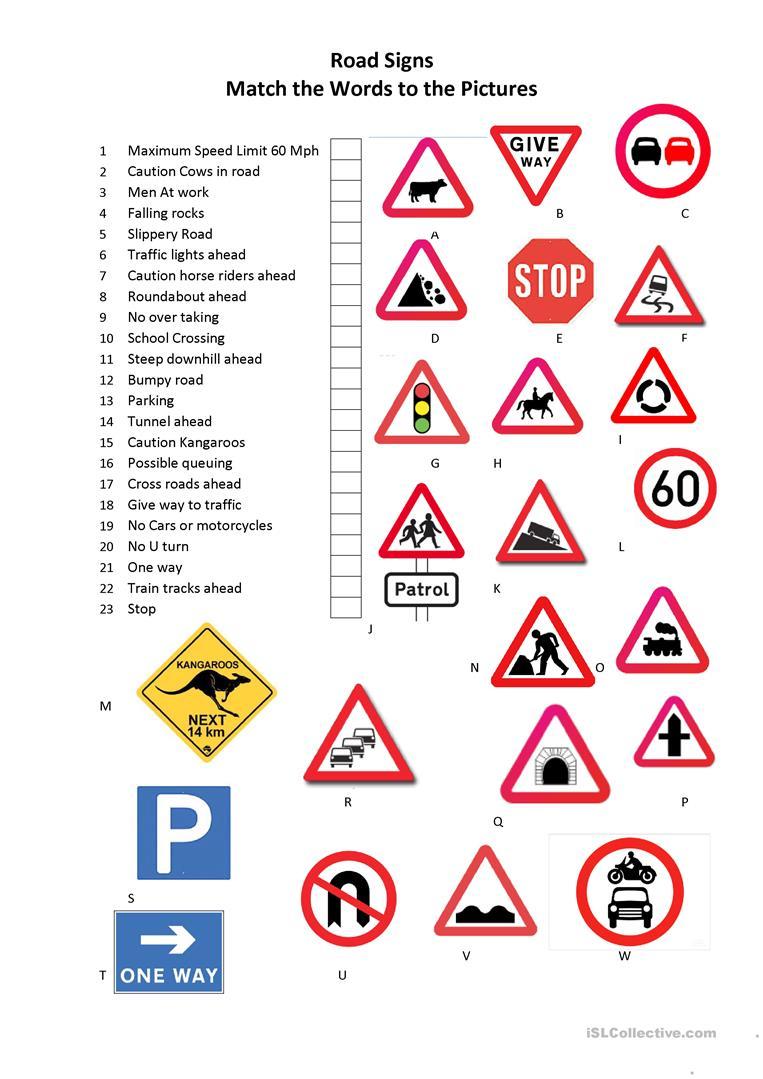 Road Signs Worksheet - Free Esl Printable Worksheets Madeteachers | Free Printable Traffic Signs Worksheets