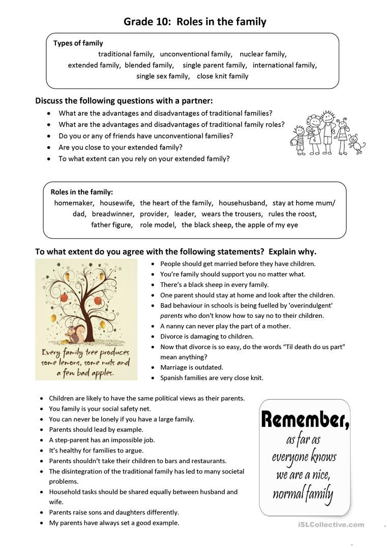 Roles In The Family: Idioms And Conversation Worksheet - Free Esl | Free Printable English Conversation Worksheets