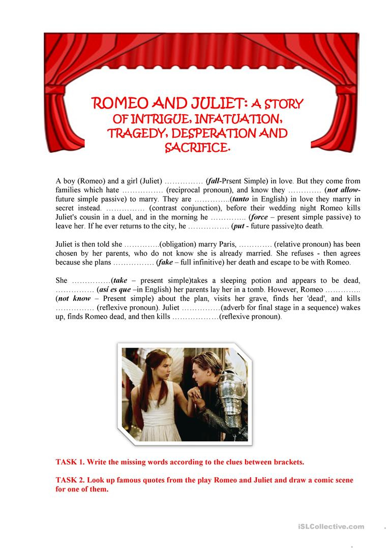 Romeo And Juliet Worksheet - Free Esl Printable Worksheets Made | Romeo And Juliet Free Printable Worksheets