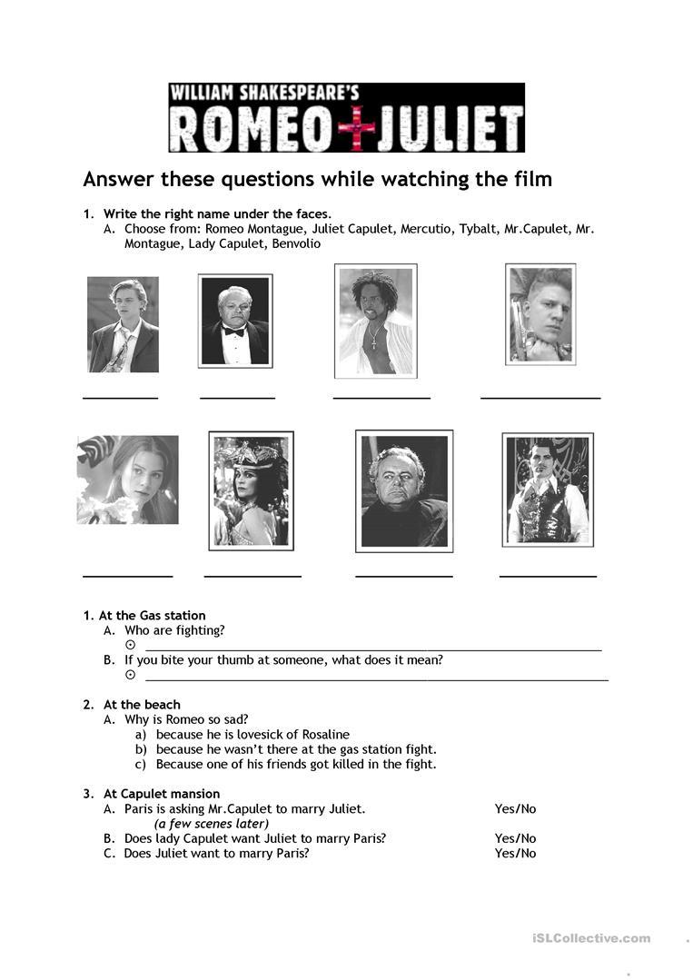 Romeo & Juliet Worksheet - Free Esl Printable Worksheets Made   Romeo And Juliet Free Printable Worksheets