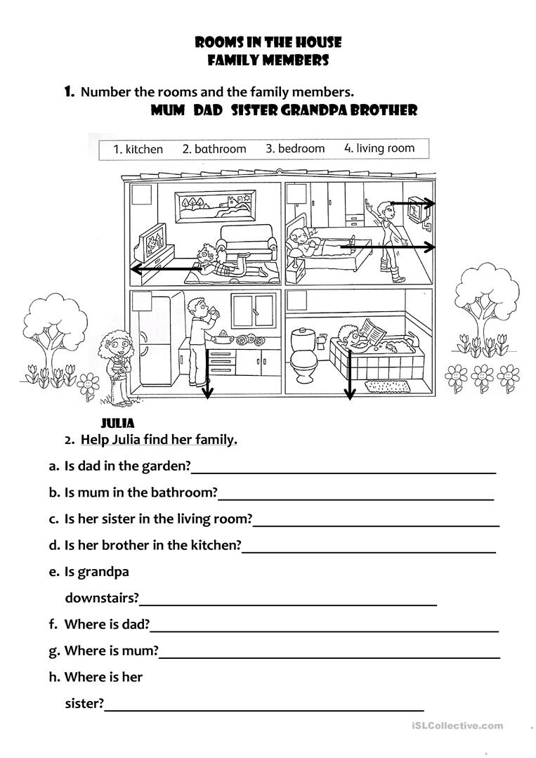 Rooms In The House - Family Members Worksheet - Free Esl Printable | Family Printable Worksheets
