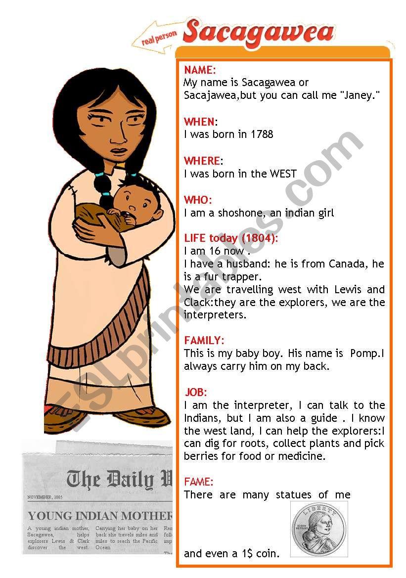 Sacagawea - Esl Worksheetbrpadali | Sacagawea Printable Worksheets