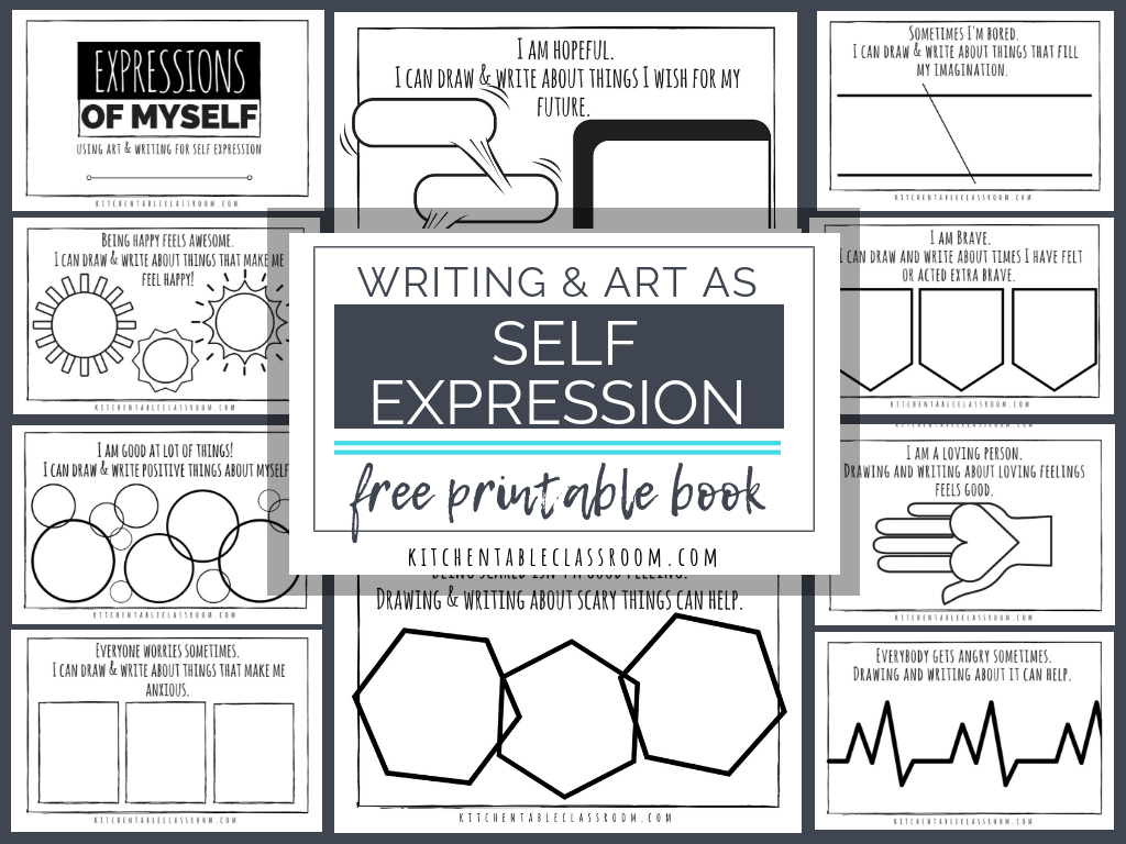Self Expression Through Writing & Art- Free Self Esteem Worksheets | Self Esteem Printable Worksheets For Kids