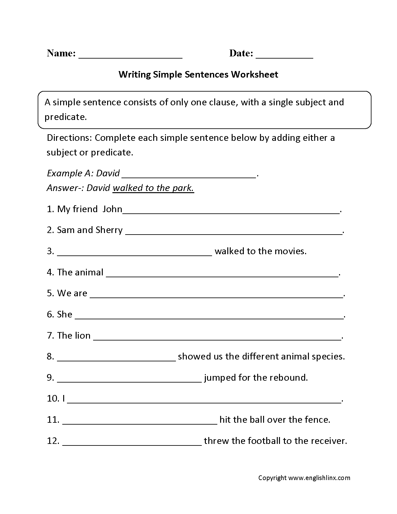 Sentences Worksheets | Simple Sentences Worksheets | 7Th Grade Writing Worksheets Printable