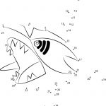 Sharpedo Water Pokemon Dot To Dot Printable Worksheet   Connect The Dots | Pokemon Worksheets Printable