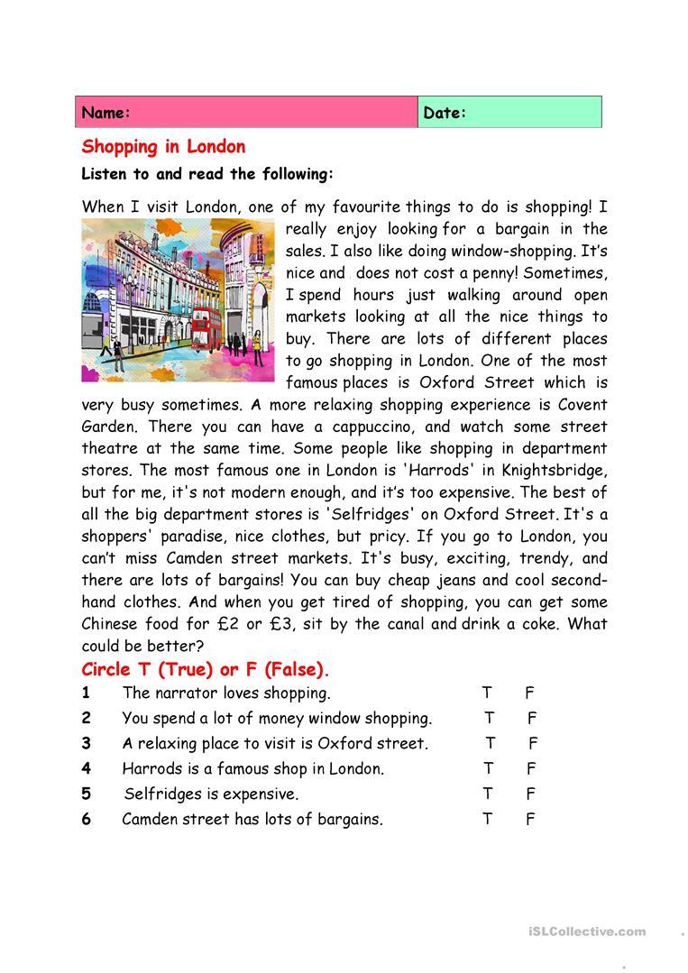 Shopping In London Worksheet - Free Esl Printable Worksheets Made | London Worksheets Printable