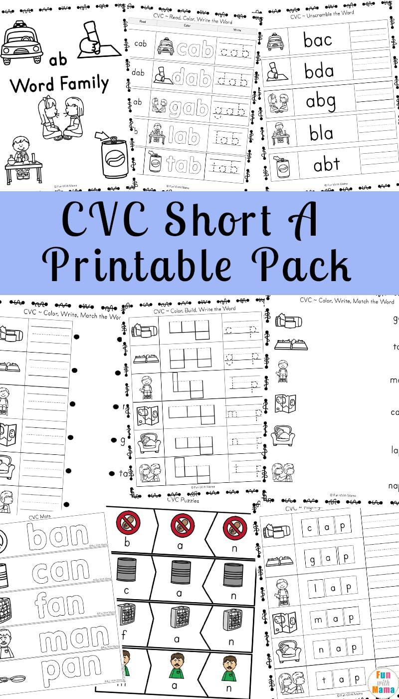 Short A Worksheets Cvc Words | Short A Printable Worksheets