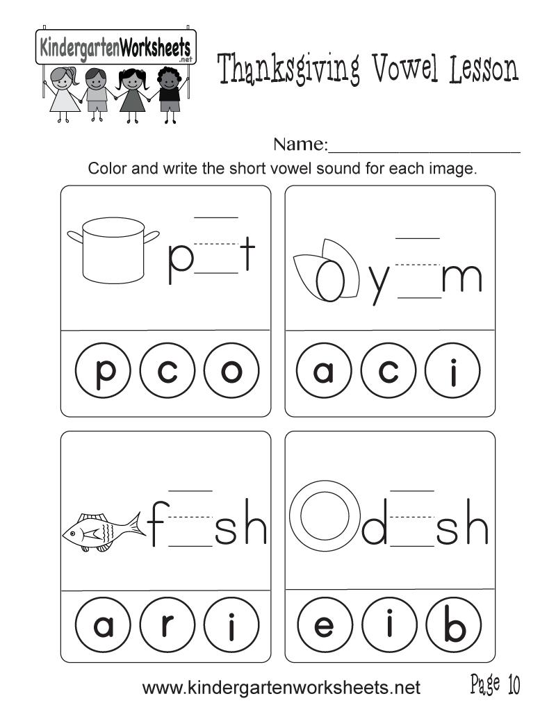 Short Vowel Sounds Worksheet (Thanksgiving Vowel Lesson, Page 10) | Short A Printable Worksheets