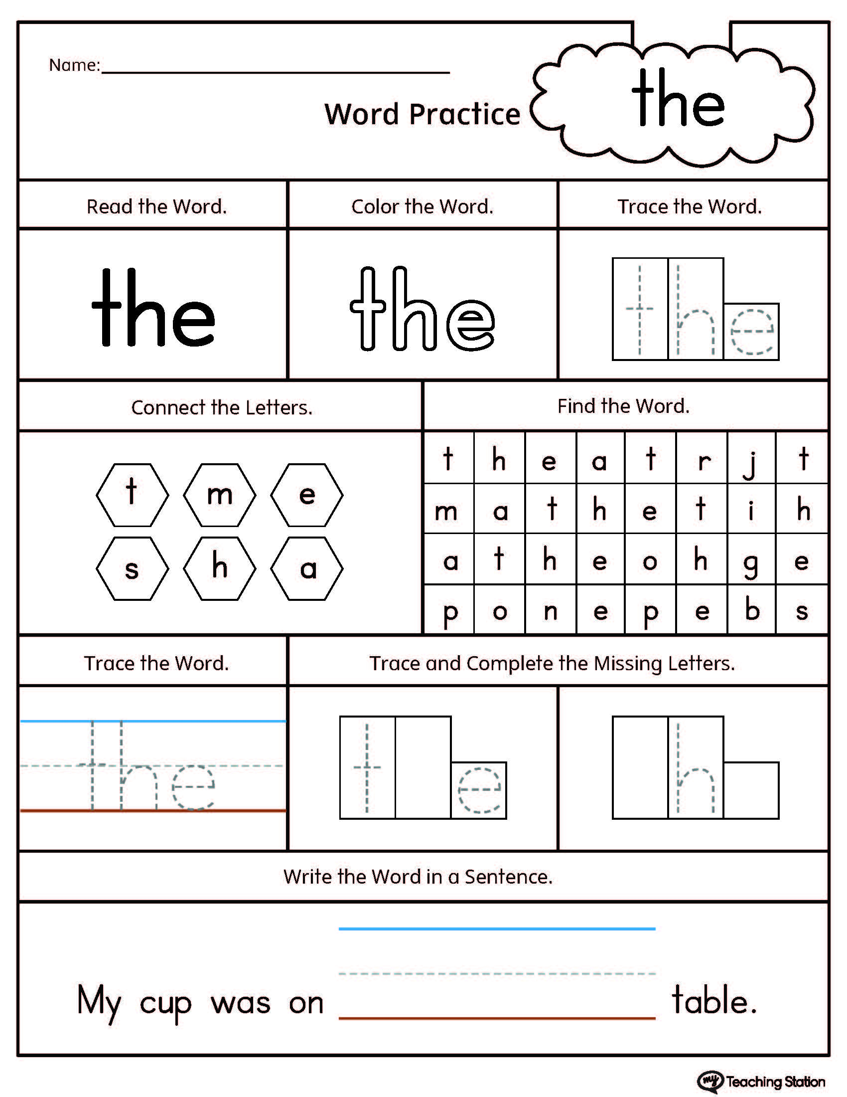 Sight Word The Printable Worksheet | Myteachingstation | Printable Sight Word Worksheets