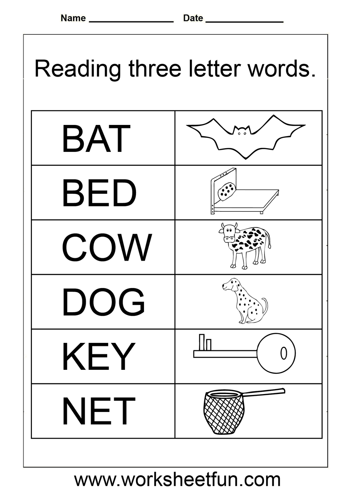 Simple Words - Worksheet | Homeschooling: Reading & Grammar | Free Printable English Reading Worksheets For Kindergarten