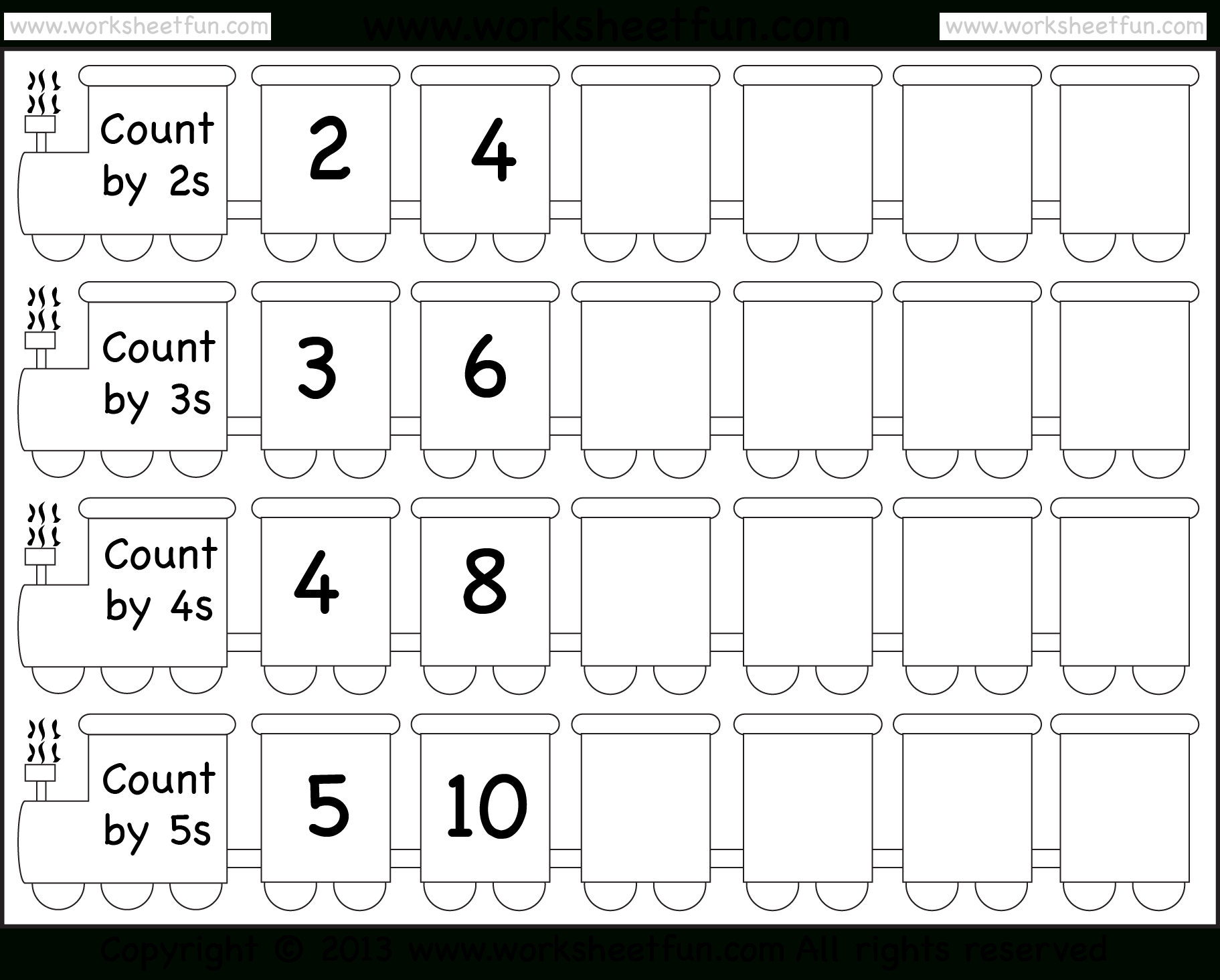 Skip Counting2, 3, 4 And 5 – Worksheet / Free Printable | Free Printable Skip Counting Worksheets