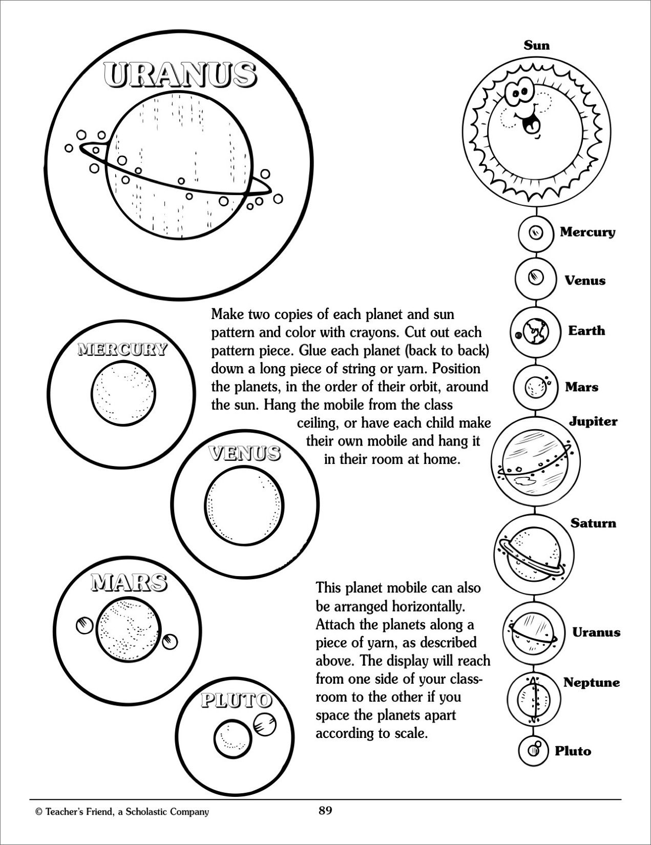 Solar System Mobile - Scholastic Printables | Crazy Things I Get | Free Printable Solar System Worksheets