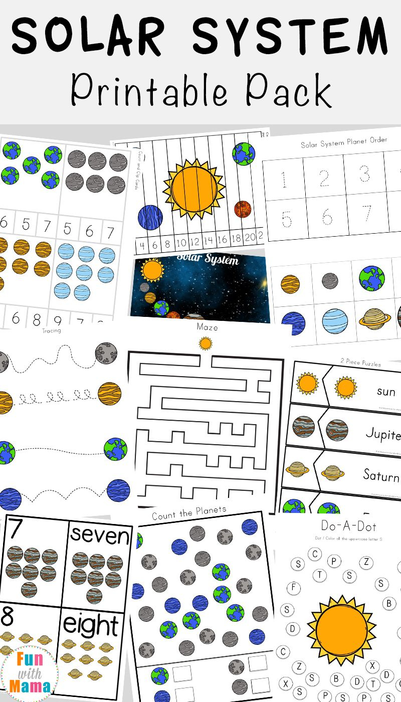 Solar System Printable Worksheets And Activities Pack   Early   Free Printable Space Worksheets