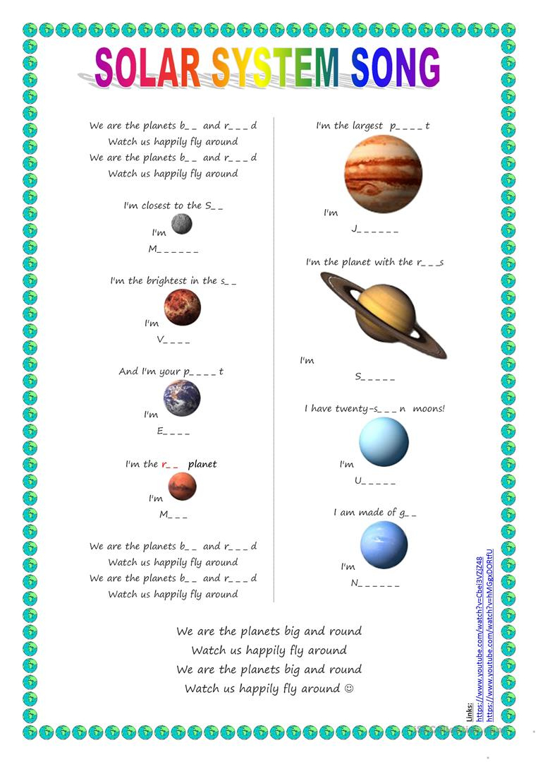 Song For Kids: Planets / Solar System Song Worksheet - Free Esl | Free Printable Solar System Worksheets