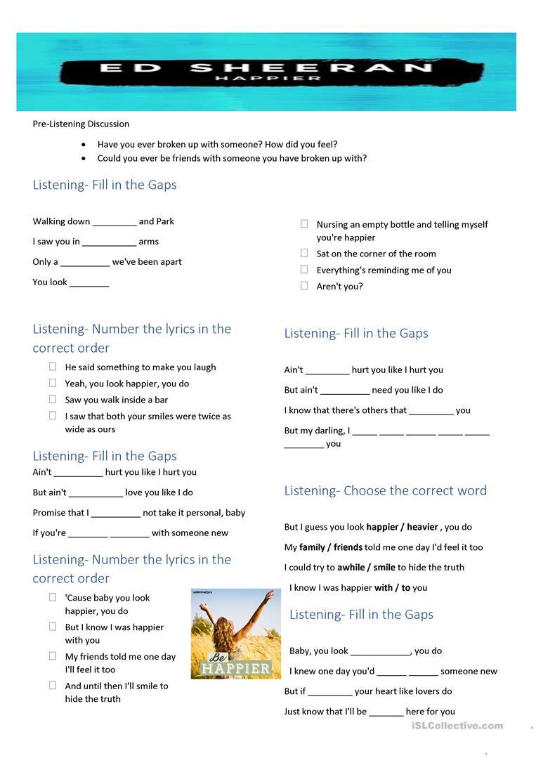 Song Happiered Sheeran Worksheet - Free Esl Printable Worksheets   Happiness Printable Worksheets