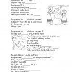 Song Lyrics From Frozen  Do You Want To Build A Snowman? Worksheet | Snowman Worksheet Printables