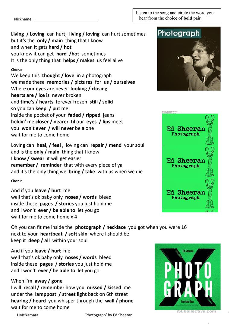 "Song ""photograph""ed Sheeran Worksheet - Free Esl Printable 