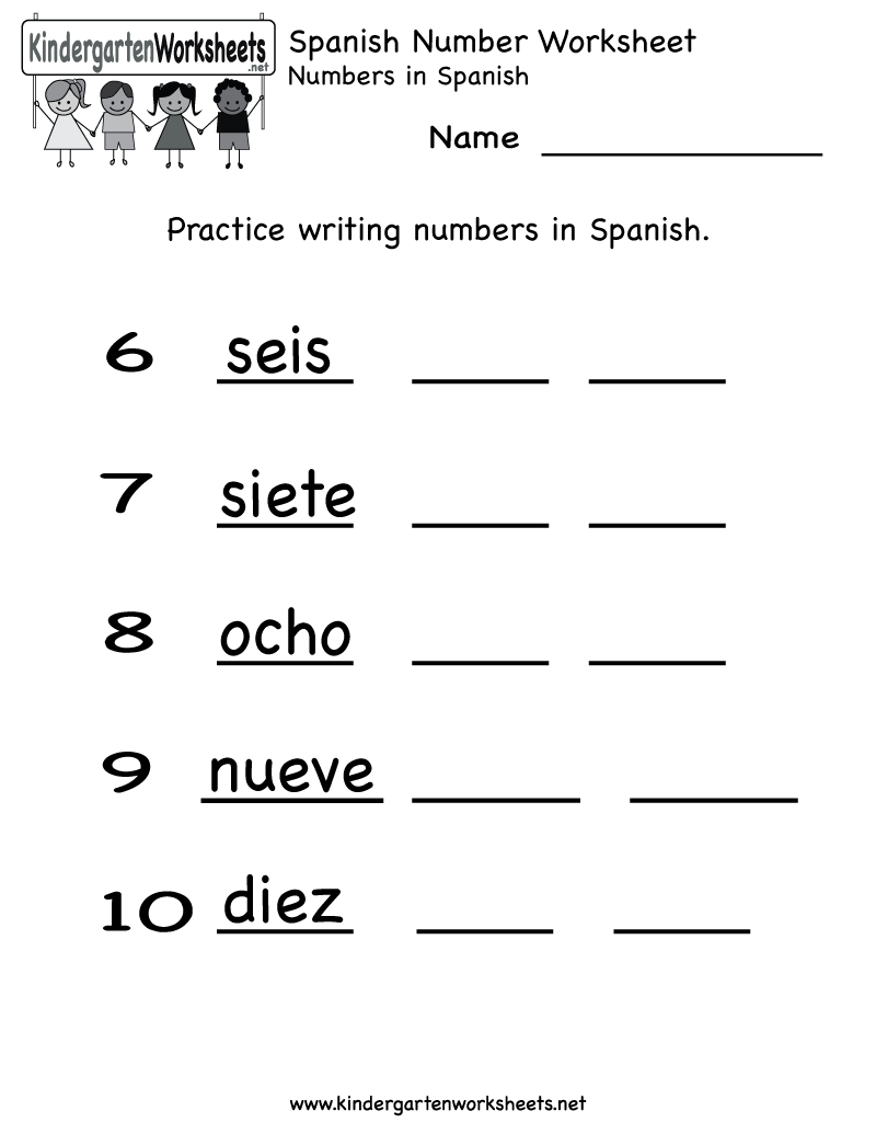 Spanish Number Worksheet - Free Kindergarten Learning Worksheet For Kids | Free Printable Spanish Worksheets For Beginners