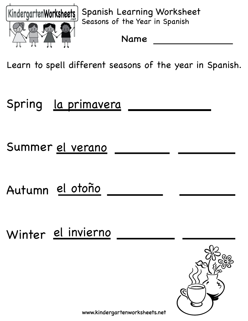 Spanish Worksheets For Kindergarten   Free Spanish Learning - Free   Free Printable Elementary Spanish Worksheets