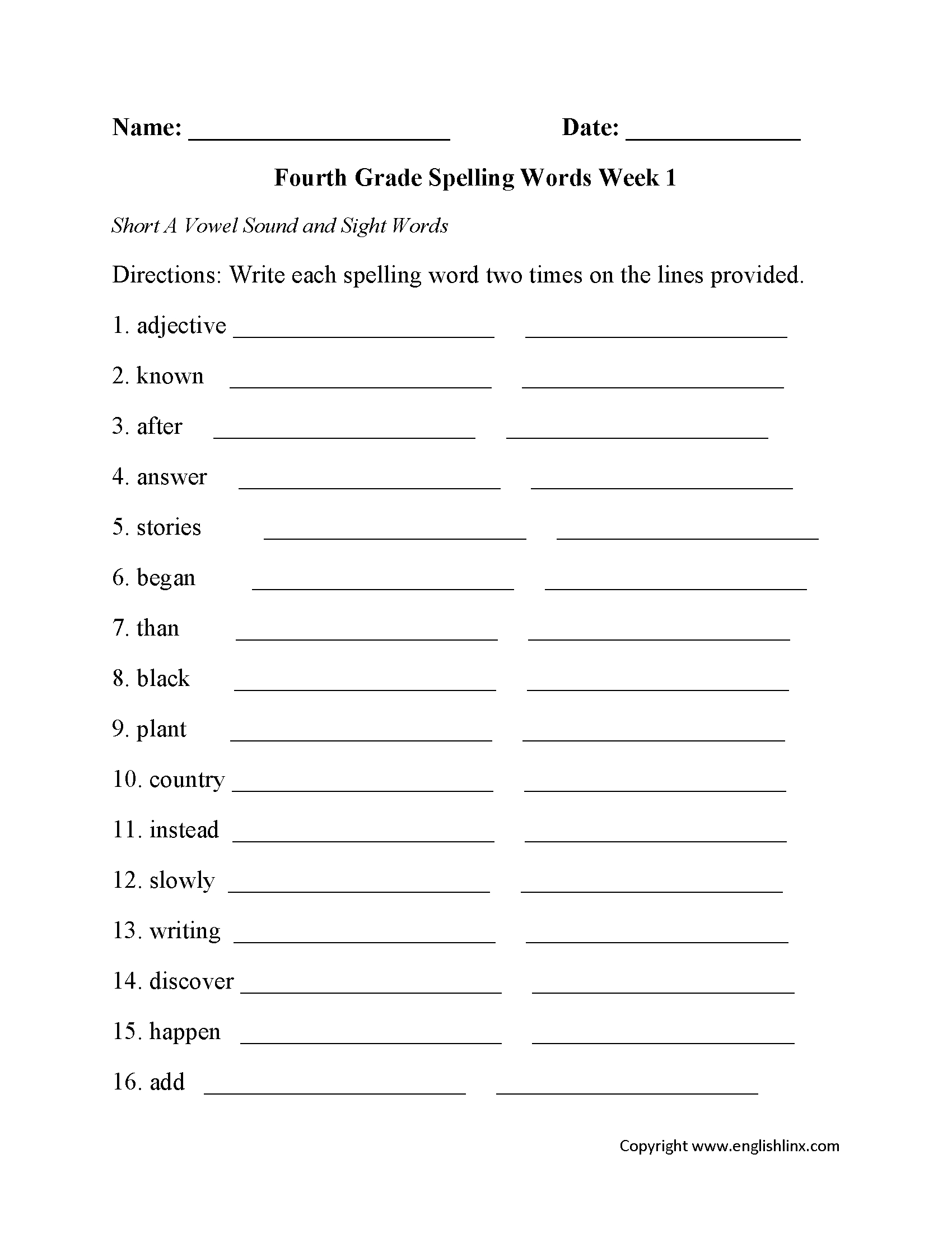 Spelling Worksheets | Fourth Grade Spelling Worksheets | Printable Spelling Worksheets