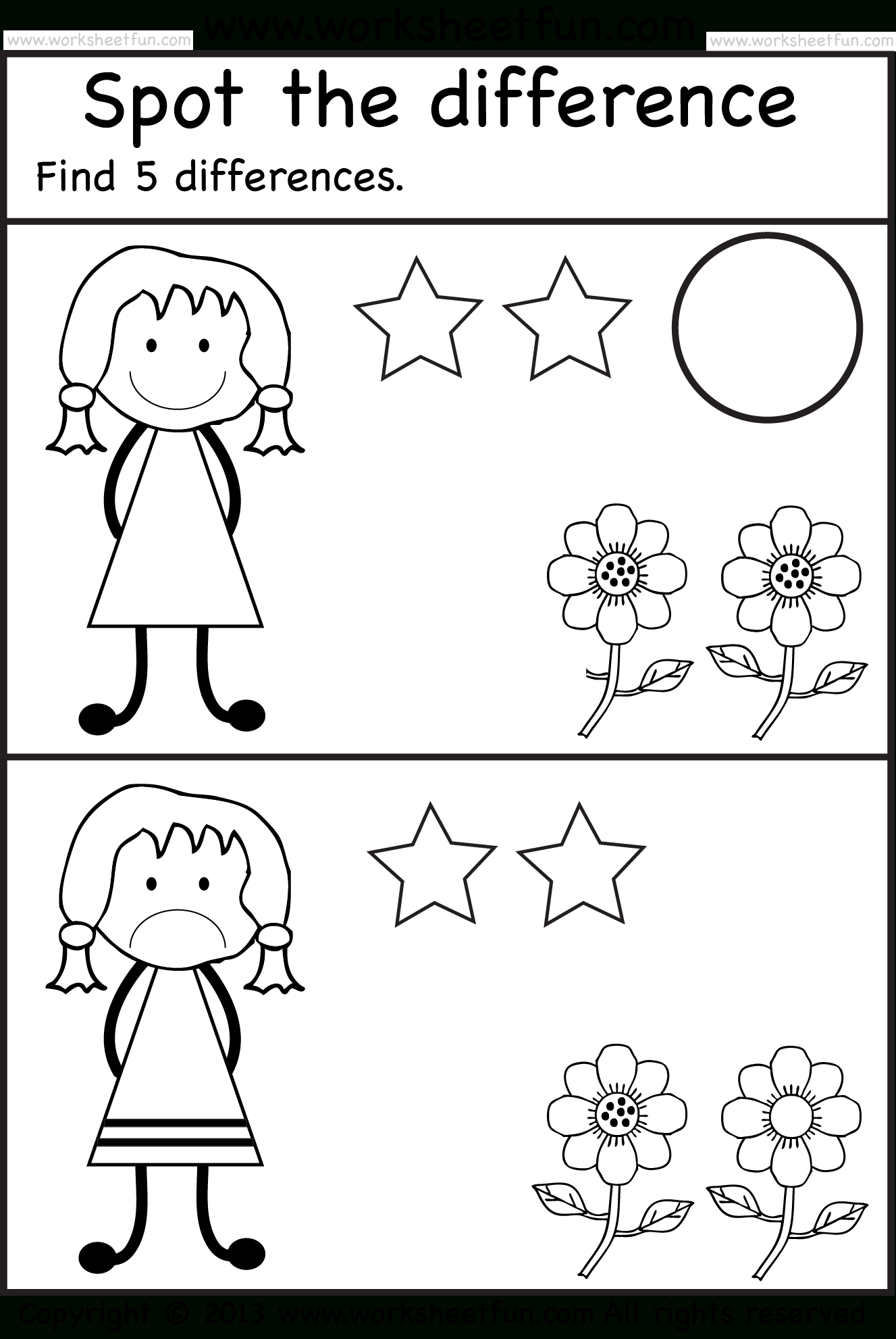 Spot The Differences | Pre K Activities | Kindergarten Worksheets | Free Printable Spot The Difference Worksheets
