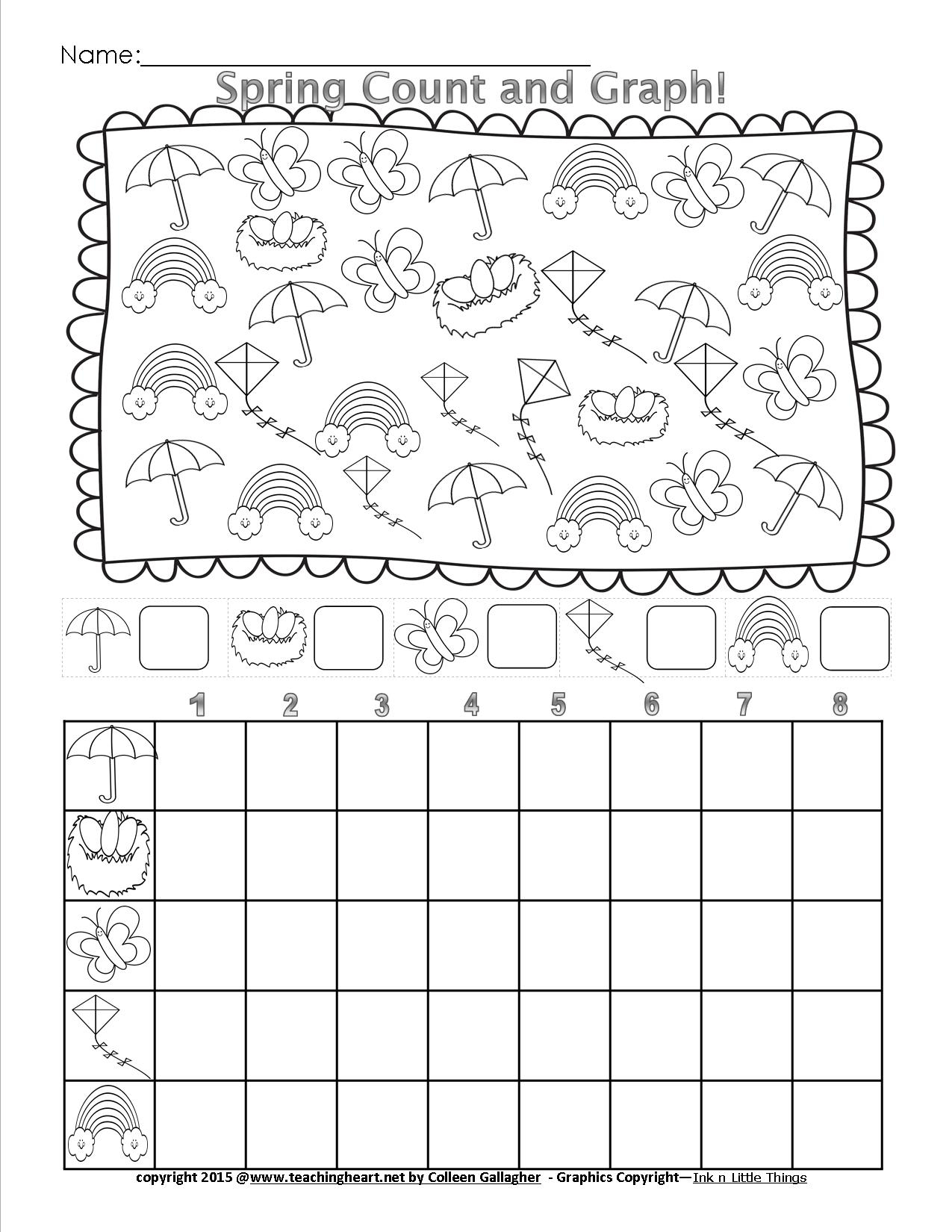 Spring Count And Graph - Free - Teaching Heart Blog Teaching Heart Blog | Free Printable Spring Worksheets For Elementary