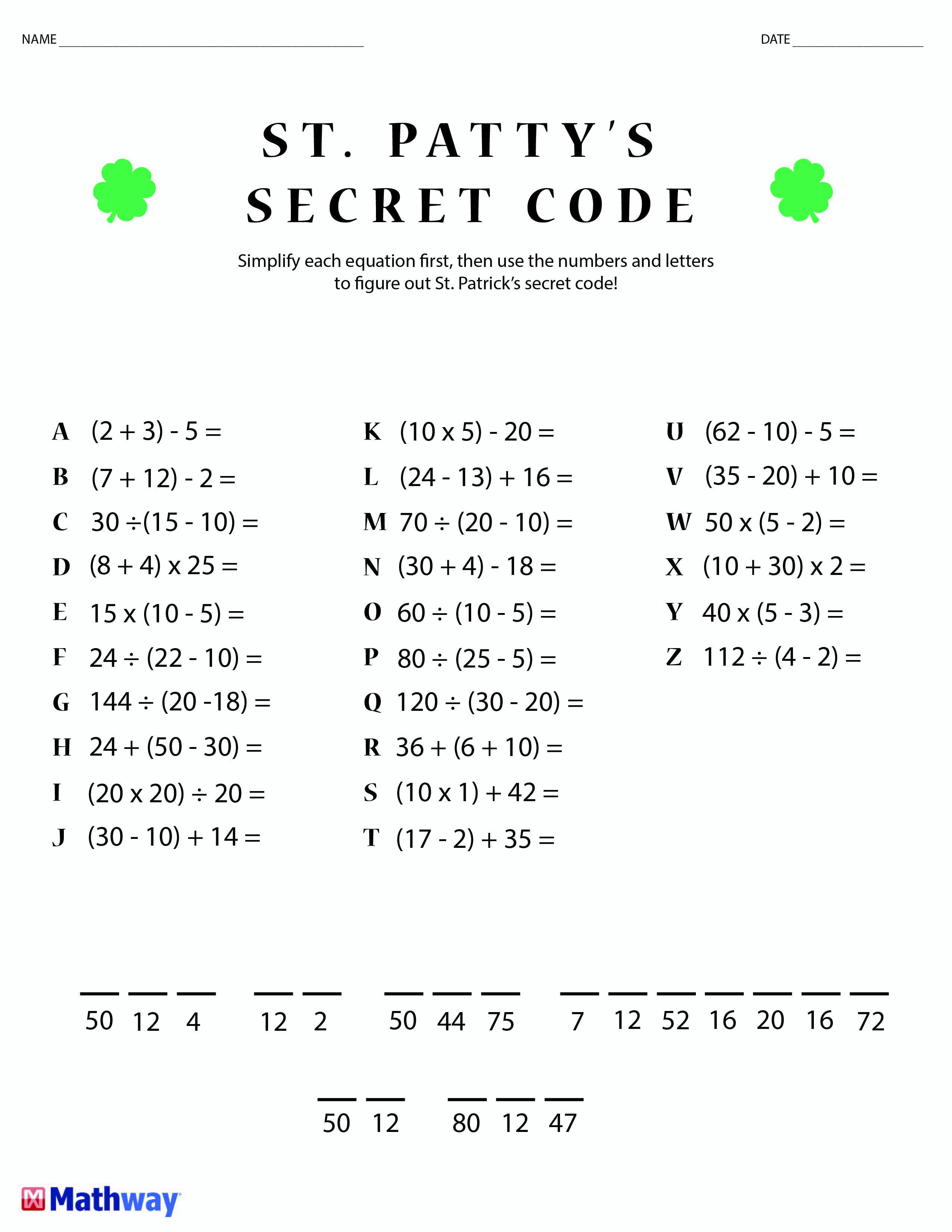 St. Patty's Day Crack The Secret Code Worksheet! Print This One Out | Printable Secret Code Worksheets