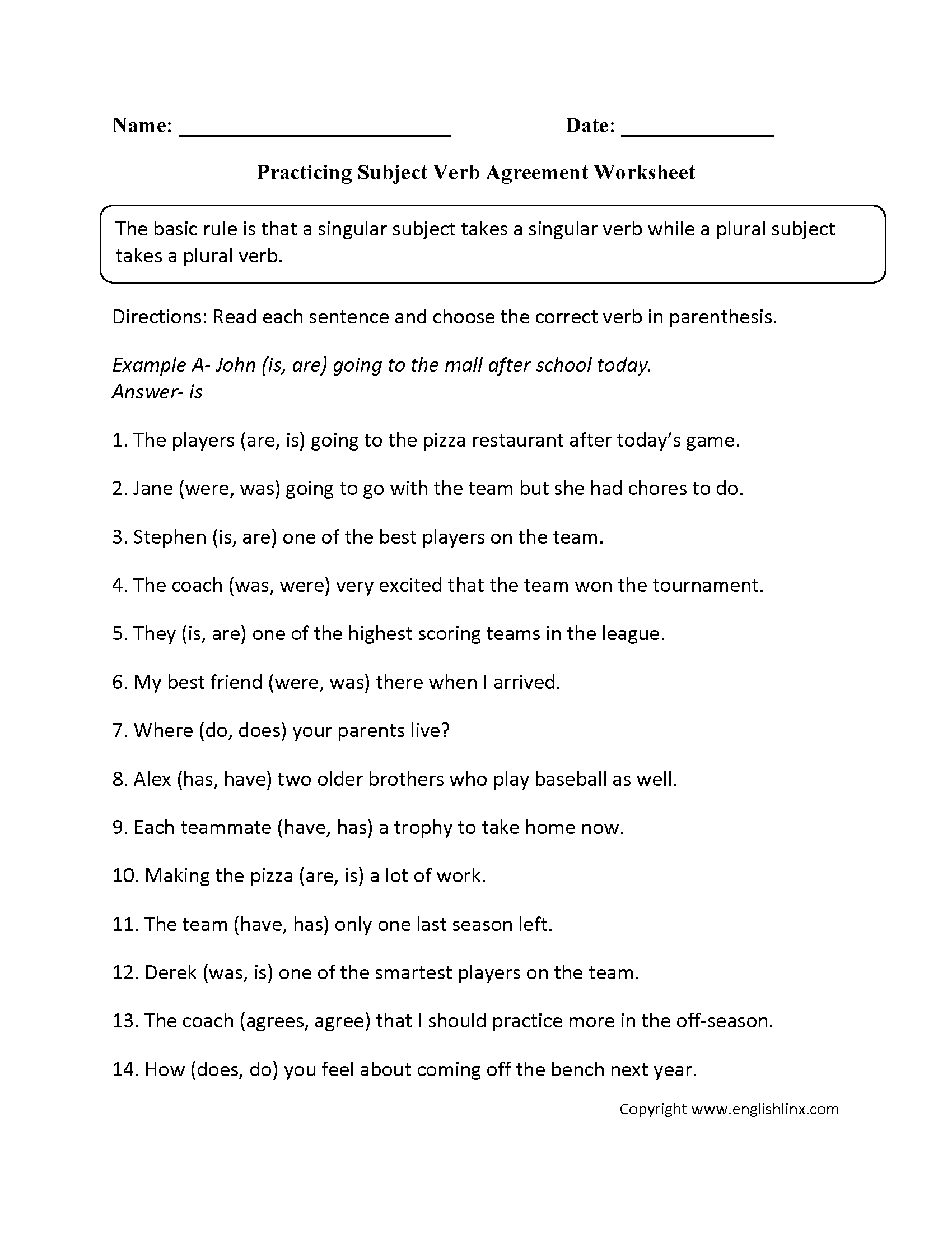 Subject Verb Agreement Worksheets | Englishlinx Board | Pronoun | Free Printable Subject Verb Agreement Worksheets