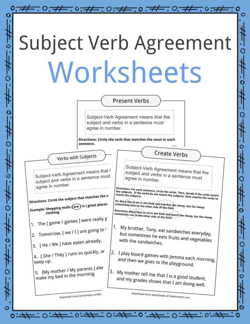 Subject Verb Agreement Worksheets | Kidskonnect | Free Printable Subject Verb Agreement Worksheets