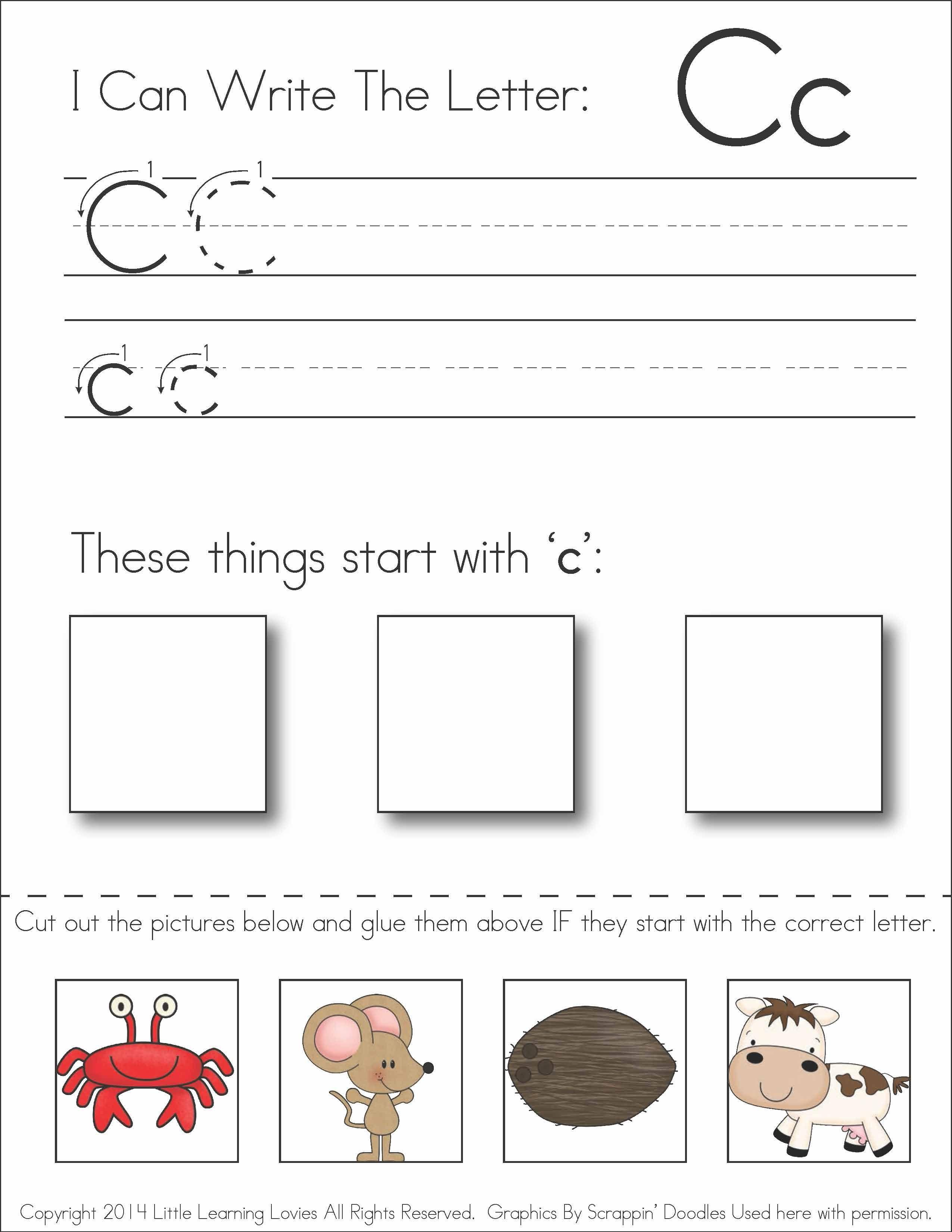 Subscriber Exclusive Freebie} - Letter C: Write, Cut & Paste | Free Printable Kindergarten Worksheets Cut And Paste