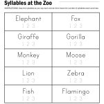 Syllables At The Zoo Worksheet | Reading | Fun Learning, Teaching | Free Printable Syllable Worksheets For Kindergarten