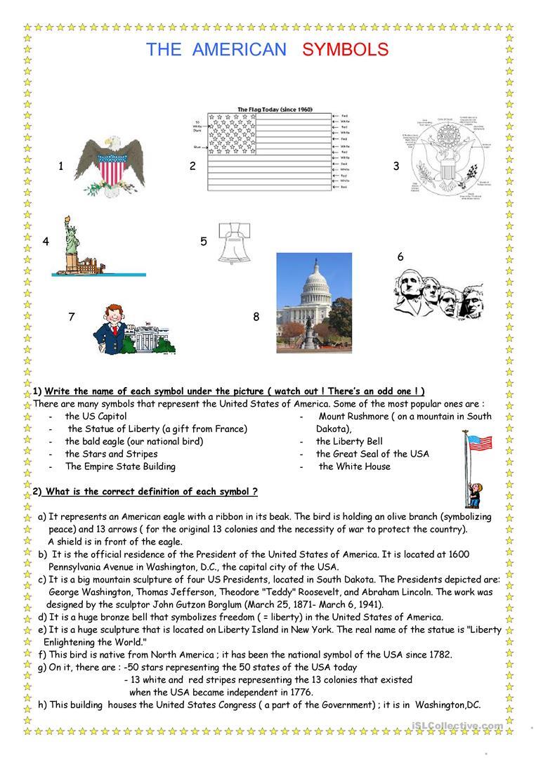 Symbols Of The Usa Worksheet - Free Esl Printable Worksheets Made | Usa Worksheets Printables