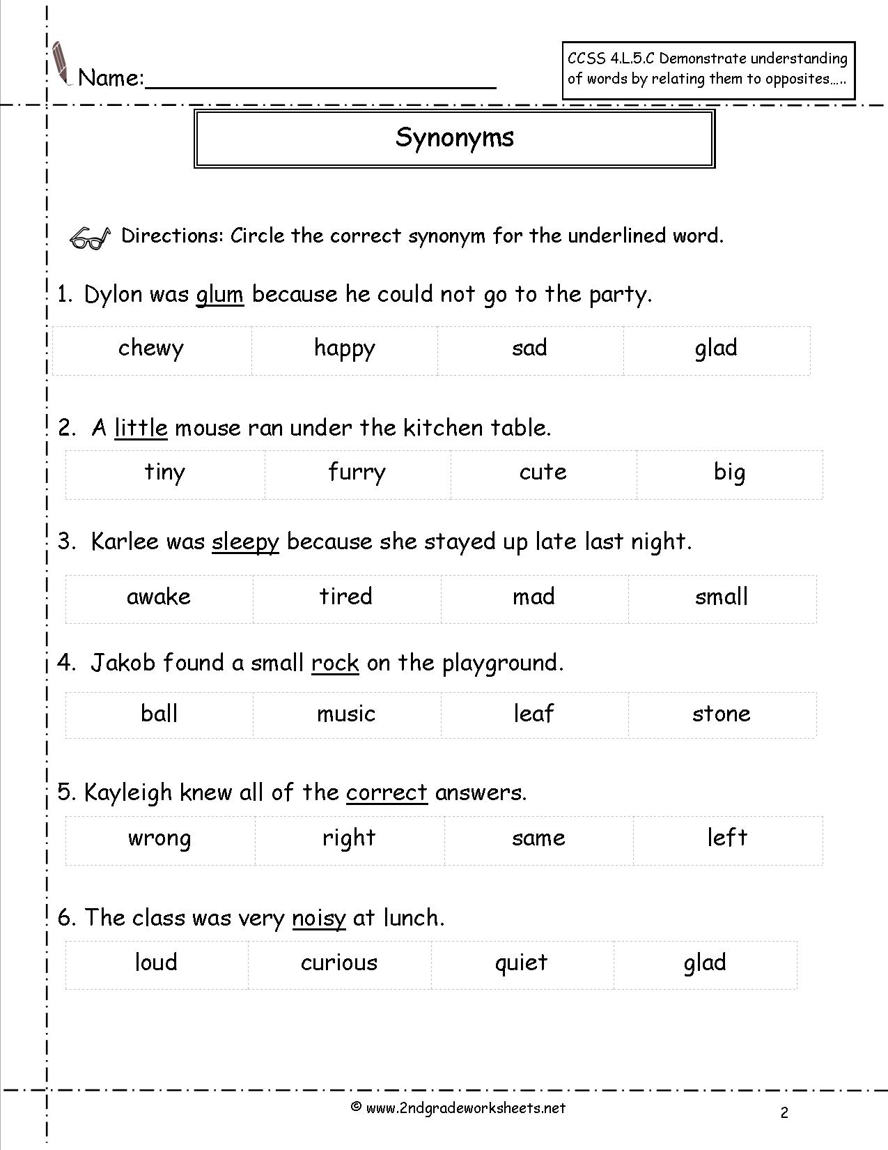 Synonyms And Antonyms Worksheets | Free Printable Worksheets Synonyms Antonyms And Homonyms