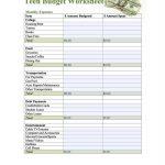 Teen Budget Worksheet   Teens   Budgeting Worksheets, Life Skills   Printable Worksheets For Teens