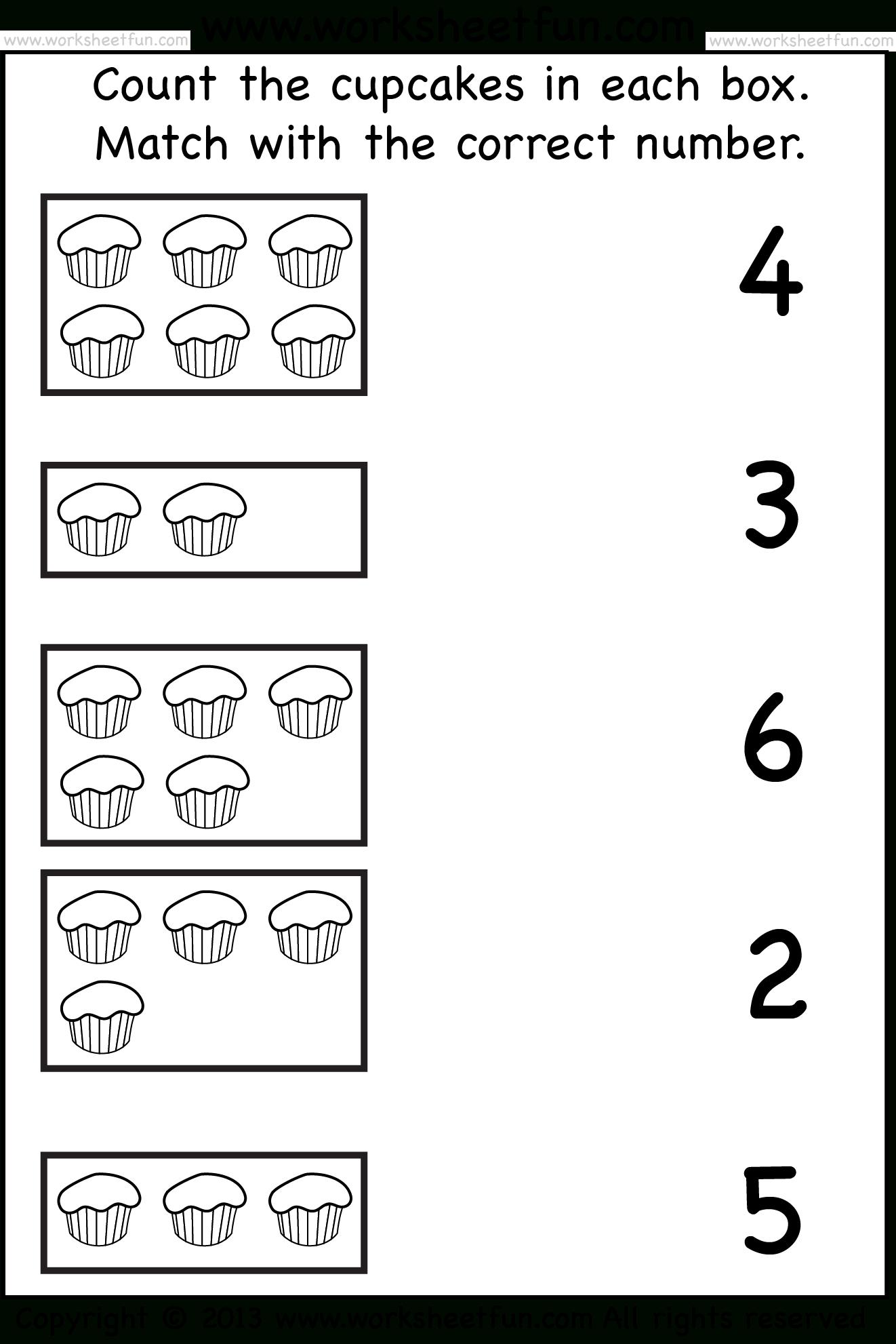 Tellen En Match_Cupcakes_Wfun_1   -Printables-   Free Kindergarten   Counting Printable Worksheets For Kindergarten