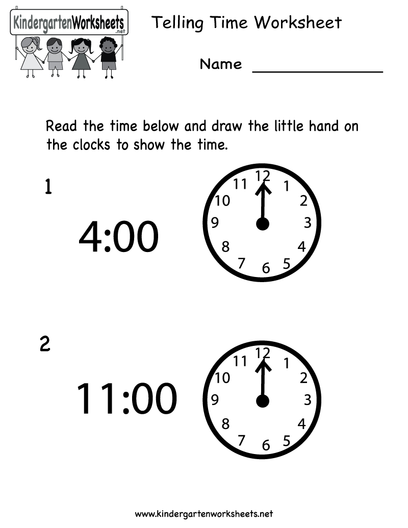 Telling Time Worksheet - Free Kindergarten Math Worksheet For Kids | Kindergarten Clock Worksheet Printables