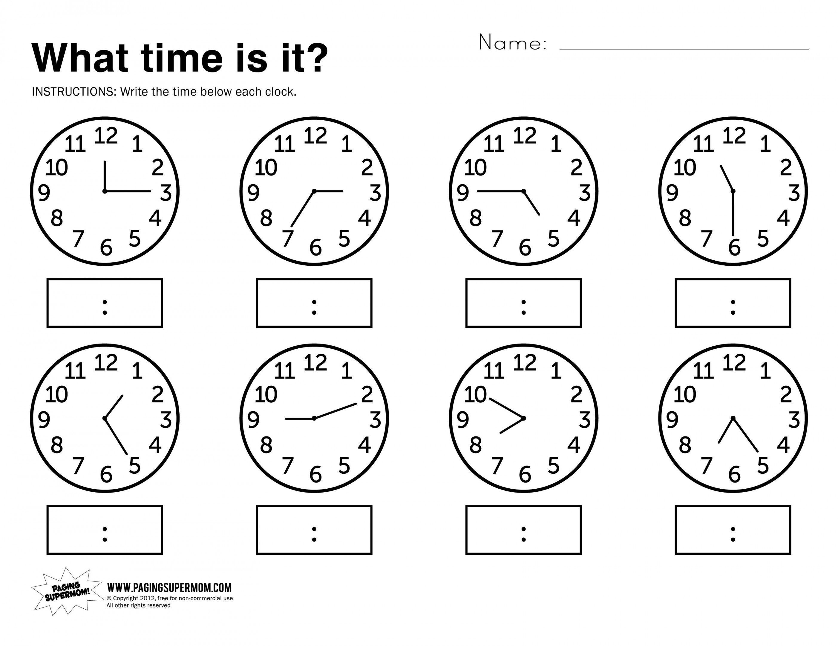 Telling Time Worksheets Grade 3 | Lostranquillos - Free Printable | Telling Time Worksheets Printable